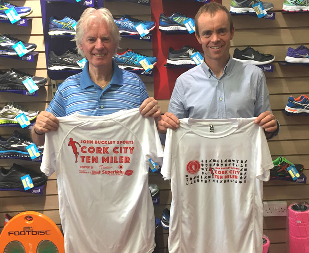 12ae201a John Buckley of John Buckley Sports & race director Paul Gallagher of  St.Finbarr's AC displaying the dry fit top for the 2017 Cork City 10 Miler