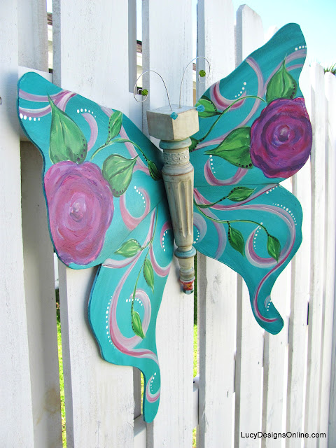 hand painted blue chair leg butterfly