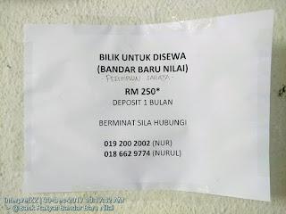 gambar iklan bilik sewa perempuan sahaja di Bandar Baru Nilai, Negeri Sembilan, Malaysia.