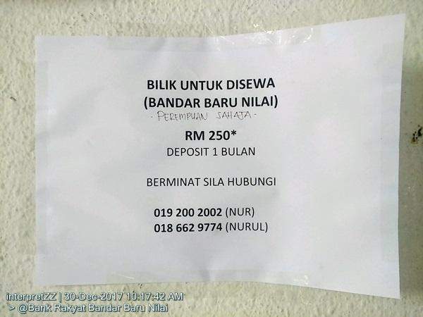 Bilik Sewa untuk Perempuan sahaja di Bandar Baru Nilai, RM 250