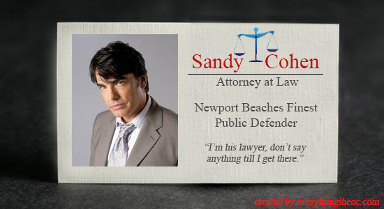 sandy cohen's business card from the o.c.