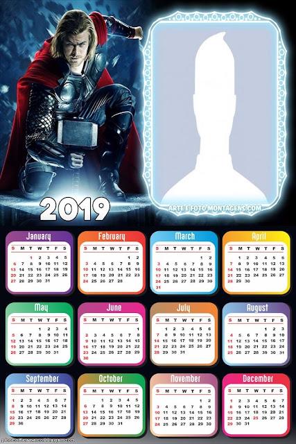 Free Printable Thor 2019 Calendar.