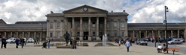 The entrance to Huddersfield station, St. George's Square. Photo by Richard Harvey.