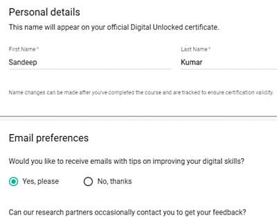 Enter Personal Details For Registration at Google Digital Unlocked Hindi