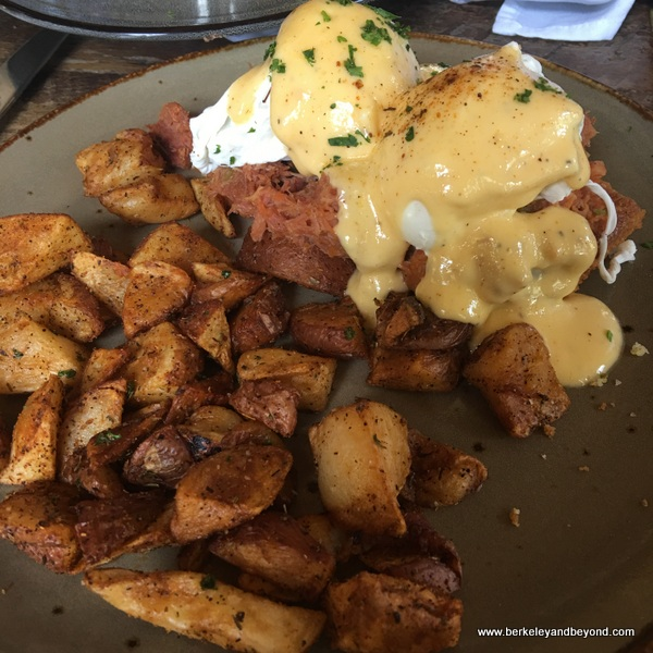 jalapeno-cornbread Benedict at Southerleigh Fine Food and Brewery in San Antoniio, Texas