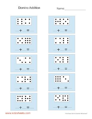 Number Names Worksheets first grade worksheets printables : Kidz Worksheets: First Grade Domino Addition Worksheet7