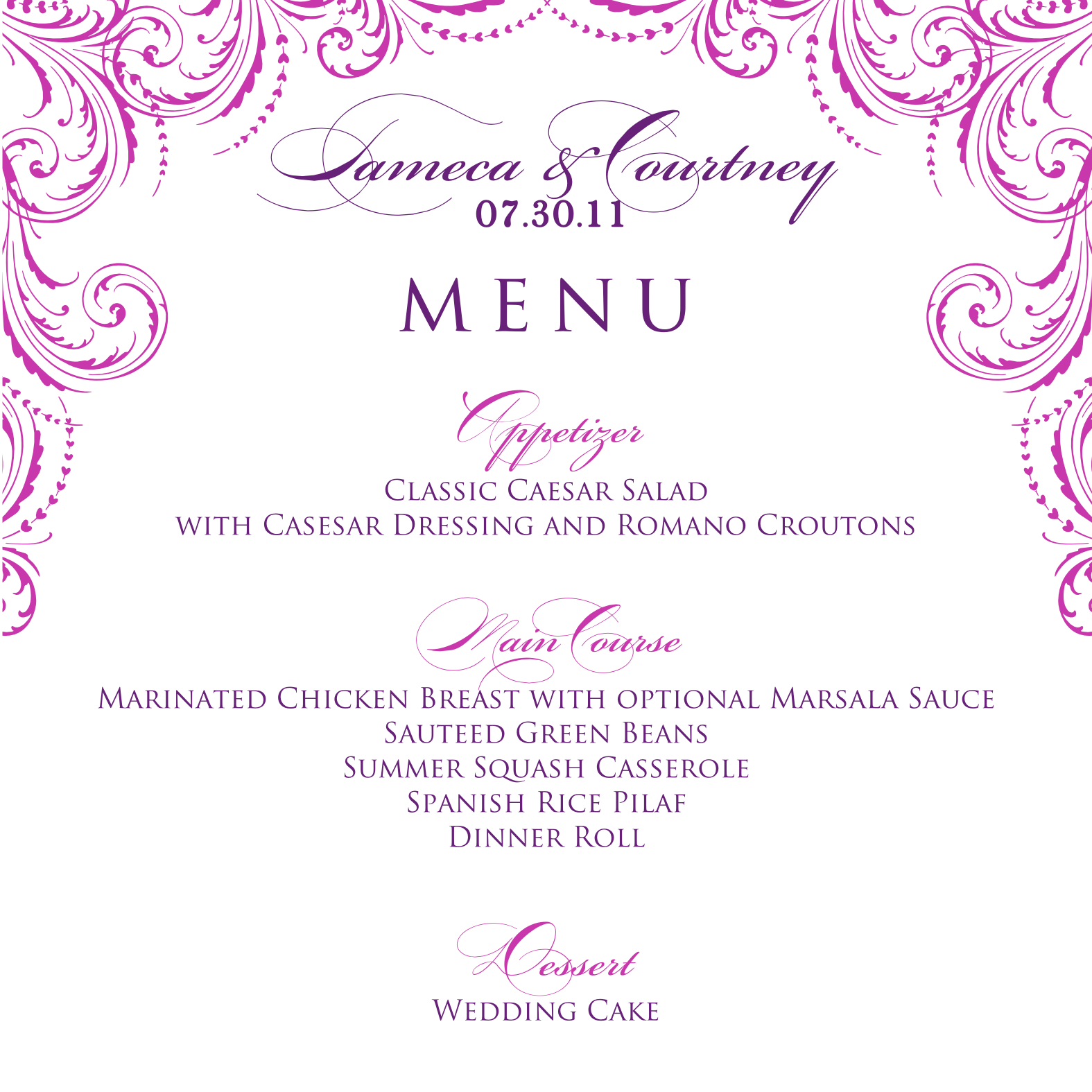 Signatures by sarah wedding menu and program for tameca for Free menu templates for dinner party