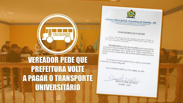 VEREADOR PEDE QUE PREFEITURA VOLTE A PAGAR O TRANSPORTE UNIVERSITÁRIO