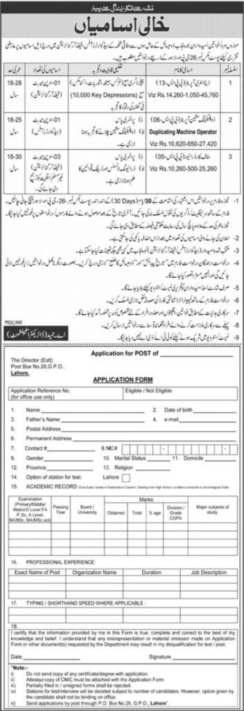 P.O.Box 26 Lahore jobs