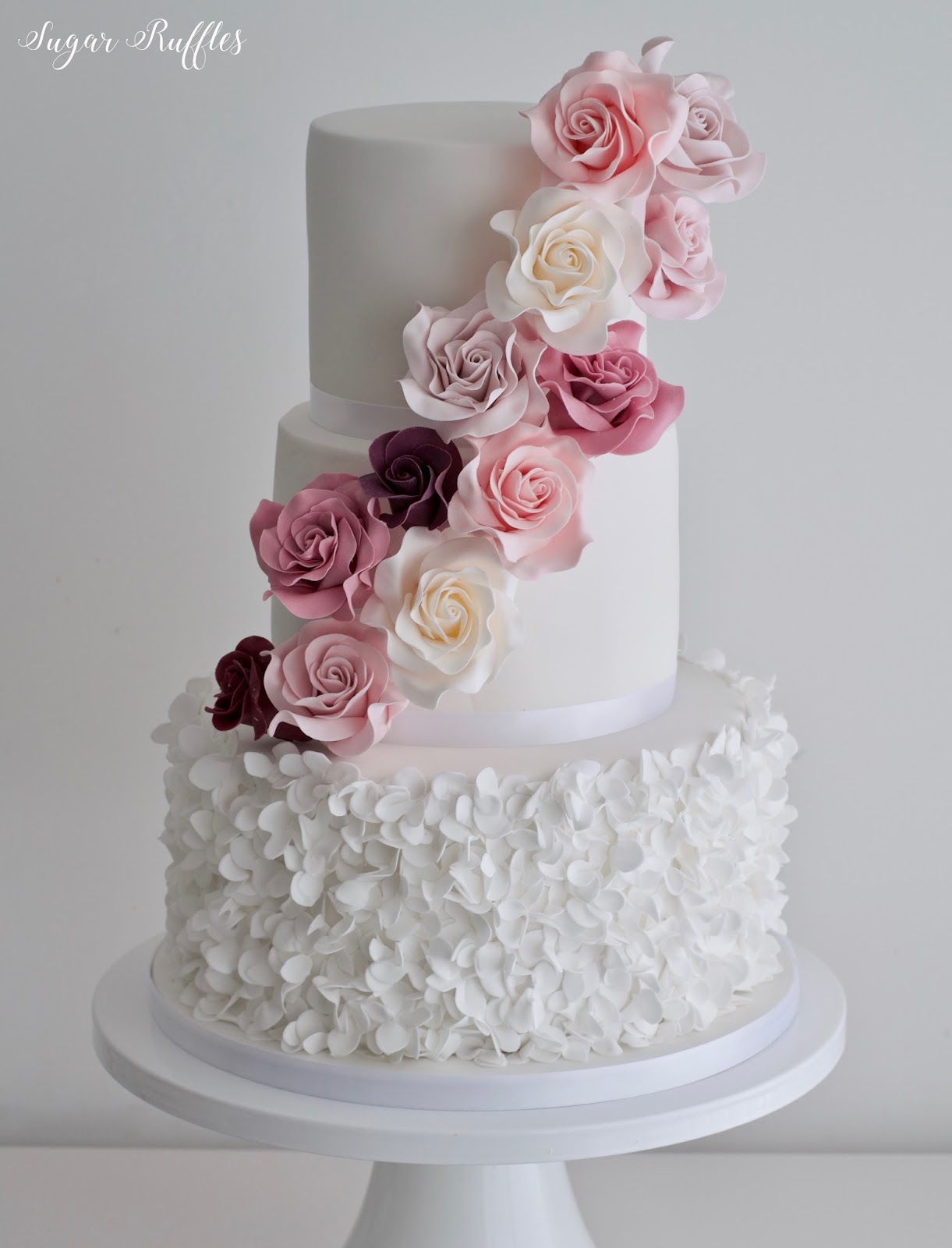 Cascading Sugar Roses and Petal Ruffles
