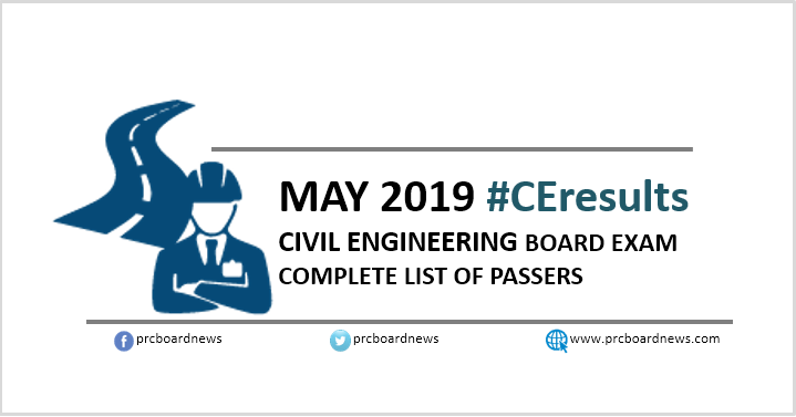 RESULTS: May 2019 Civil Engineering CE board exam list of passers