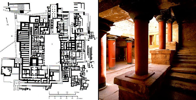 The History of Aegean Civilization | Early, Middle, and Bronze Age/A. Plan of the Palace of Minos, Knossos, Crete. The palace is organized in two wings,  to east and west of a central court, and is on several levels B. Staircase, east wing. Palace of Minos, Knossos, Crete, ñ. 1500 B.C.