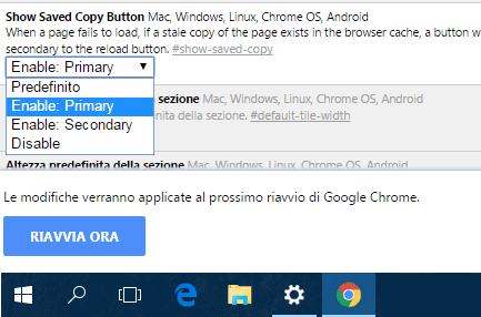 Chrome attivare pulsante per navigazione offline