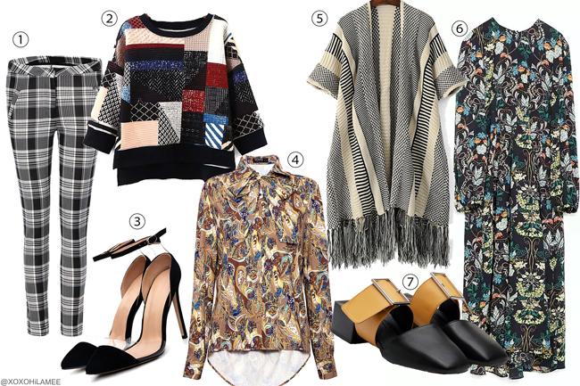 日本人ファッションブログ、ほしい物リスト、ウィッシュリスト、2016年冬~2017年春にほしい物、チェックレギンスパンツ、パッチワークセーター、ペイズリー柄ブラウス、フリンジロングカーディガン、花柄ワンピース、イエローベルトミュール、ブラックポインテッドトゥパンプス