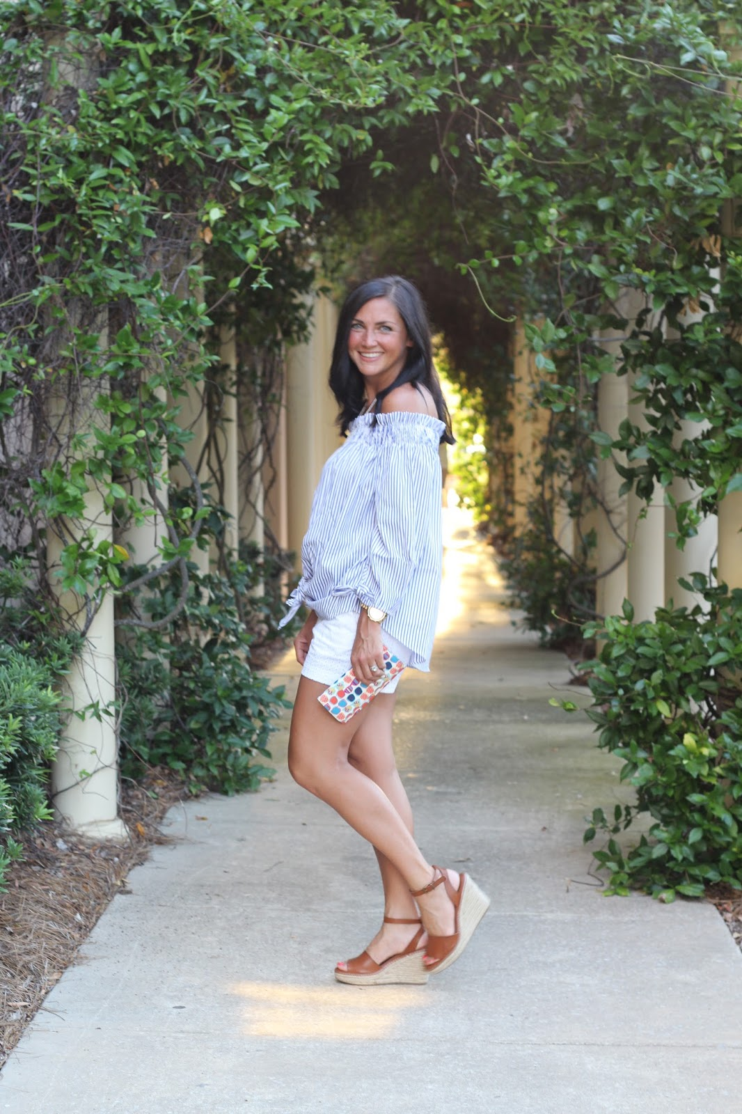 Striped off the shoulder top, white eyelet shorts, espadrilles