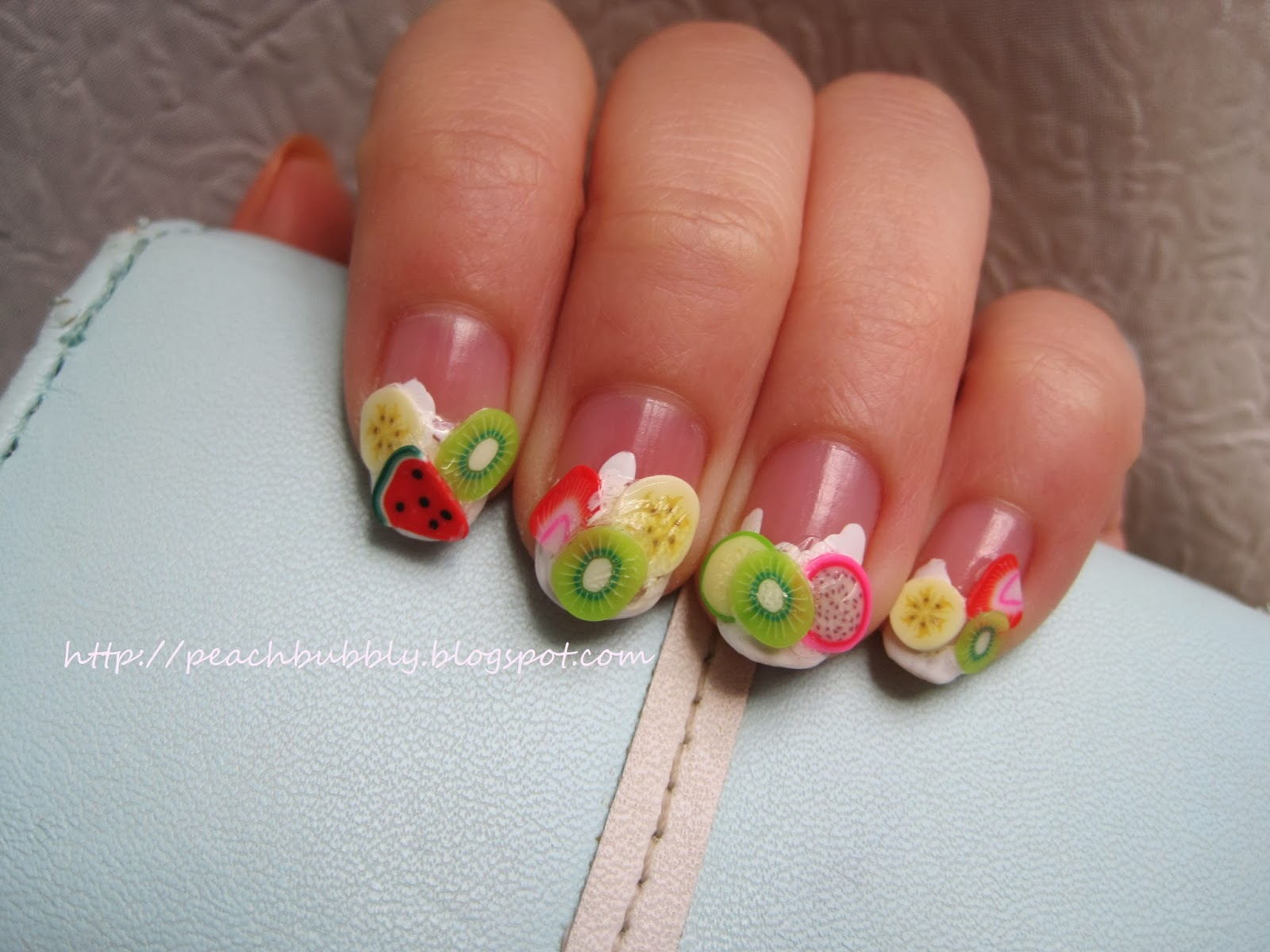 peachbubbly: Fimo Fruit Slices on Yogurt Nail Art