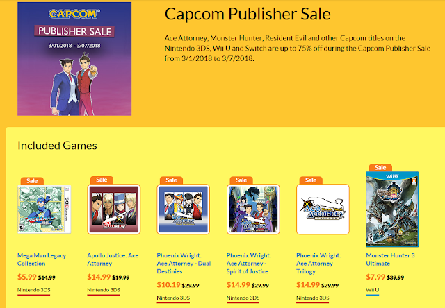 Capcom Publisher Sale March 2018 Nintendo eShop Ace Attorney 3DS Monster Hunter Ultimate Wii U