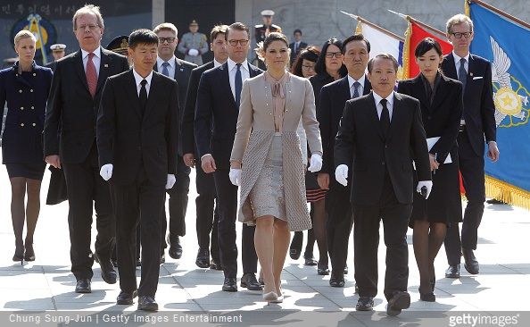 Crown Princess Victoria of Sweden and Prince Daniel of Sweden visit at Seoul National Cemetery during their visit to South Korea