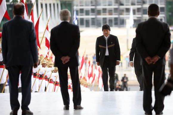 Brasília - O presidente da Bolívia, Evo Morales, é recebido no Palácio do Planalto pelo presidente Michel Temer (José Cruz/Agência Brasil)José Cruz/Agência Brasil