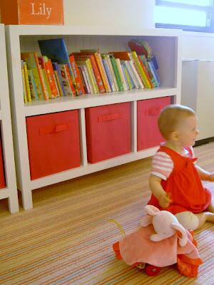 diy bookshelves with fabric storage bins