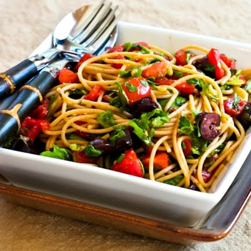 Whole Wheat Spaghetti (or Zucchini Noodles) with No-Cook Sauce of Tomatoes, Arugula, Olives, and Capers found on KalynsKitchen.com