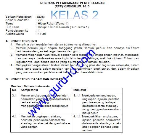 GAMBAR RPP K13 SD KELAS 2