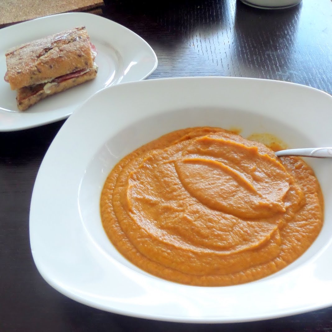Pureed Carrot Soup:  A creamy, vegan, soup made with pureed carrots, onions, and beans in a vegetable broth with a hint of dill.  It's filling enough for a meal but also great with a small sandwich.