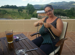 Relaxing on the balcony with a beer and some knitting