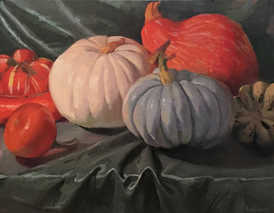 pumpkin squash still life oil painting
