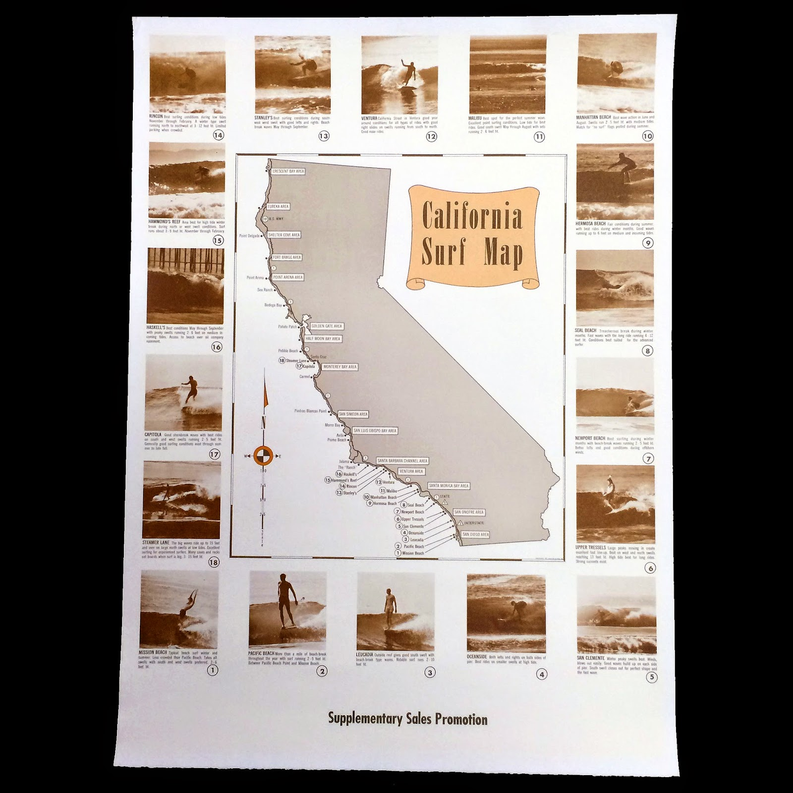 Surfing Heritage Culture Center Vintage Map Of California Surf Spots