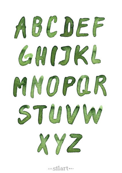 Watercolor Alphabet II, green