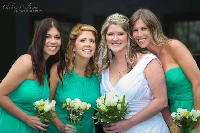 bridesmaids, green wedding, spring wedding, happy bride