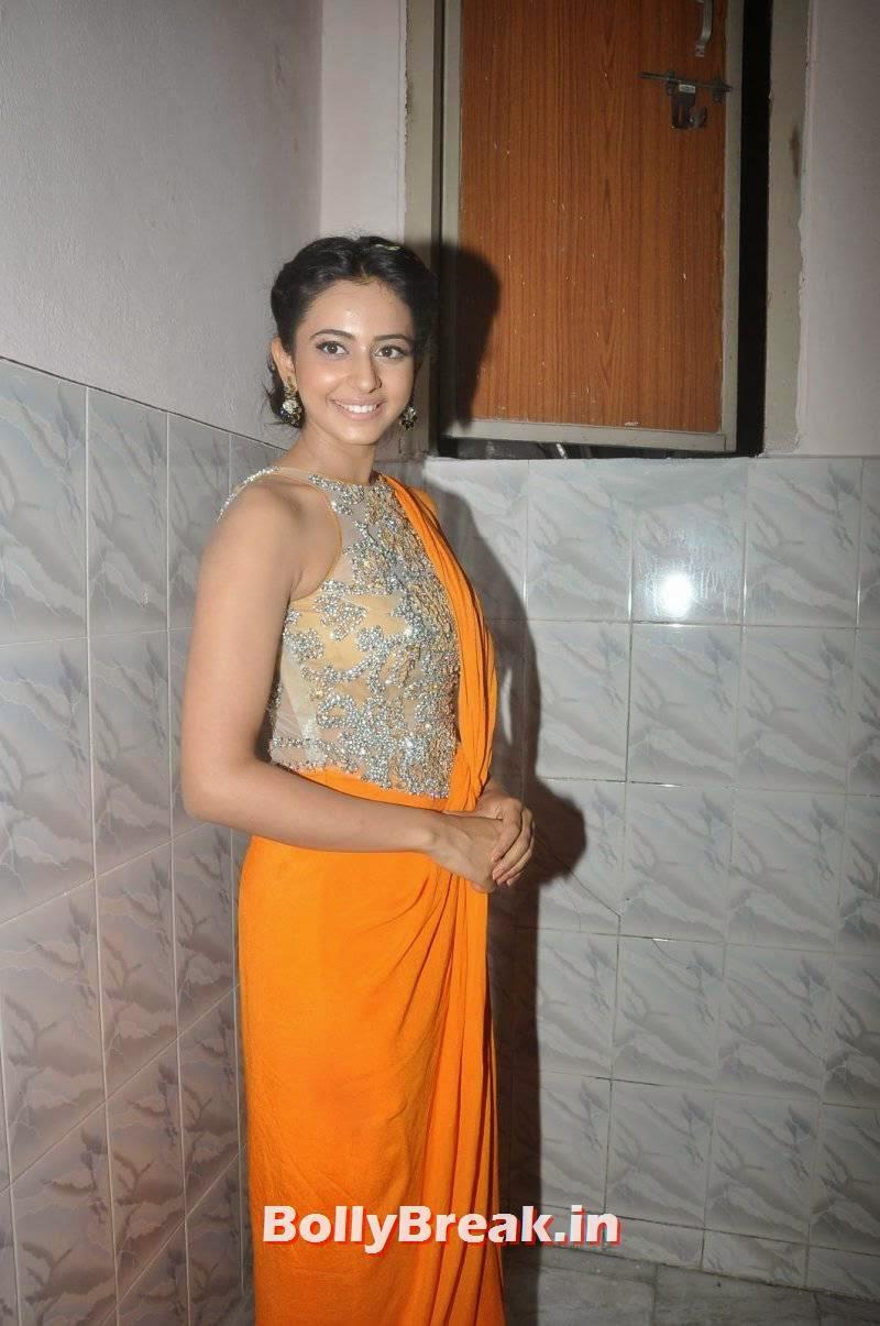 Rakul Preet Singh Nude Blouse Without Sleeve Saree Pics-2391