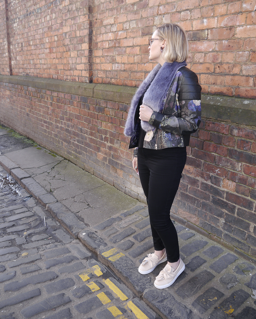 Fearne Cotton very collection, painted leather jacket, how to style a leather jacket, cool girl style inspiration, how to dress like a Cool Girl, Wardrobe Conversations blog, Glasgow outfit photo location