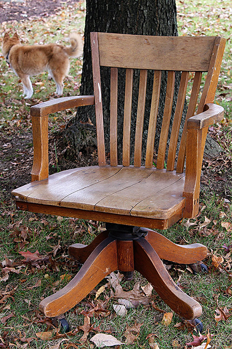 $5 Garage Sale Find: Oak Banker's Chair