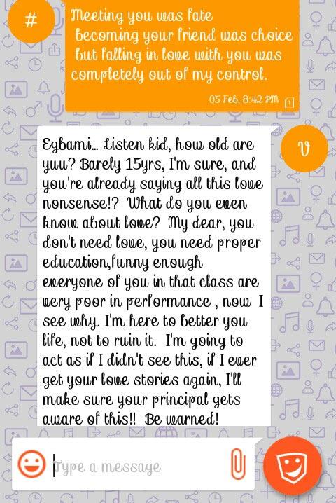 Female student sends romantic message to male teacher