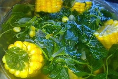 sayur bayam bening jagung