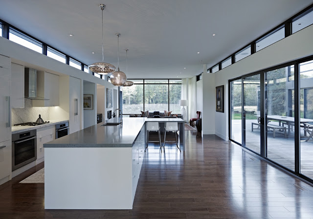 Picture of modern kitchen inside of the modern sustainable home in Ontario