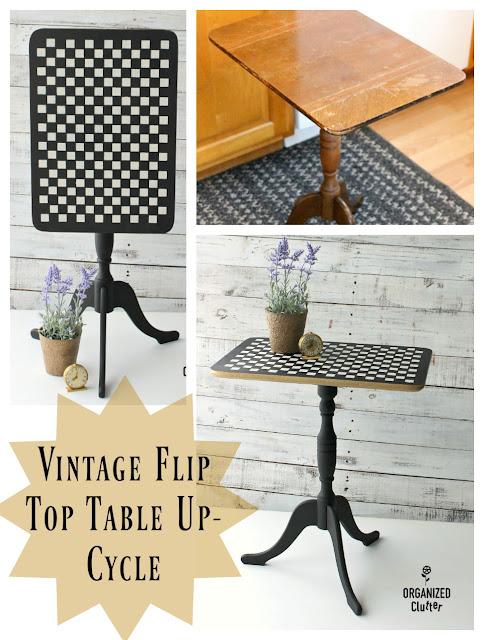 Up-Cycled Antique Shop Flip Top Table #vintage #fliptable #dixiebellepaint #stencil #checks #upcycle #goldtrim