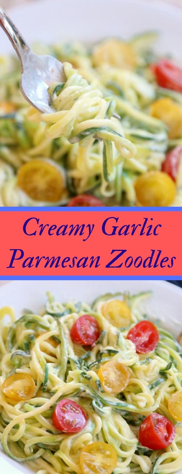 Creamy Garlic Parmesan Zoodles #PASTA #NOODLES