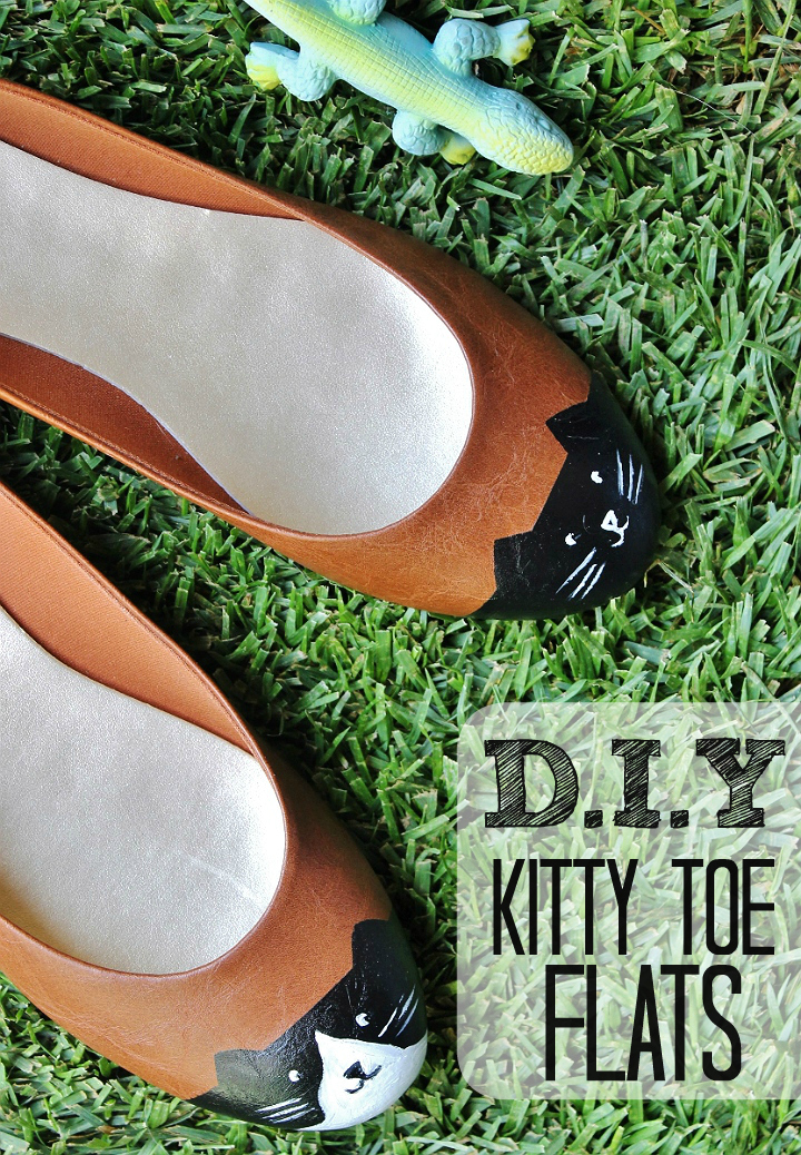 D.I.Y Kitty-Toe Flats with painter's tape and acrylic paint. Insanely easy, riddiculously adorable!