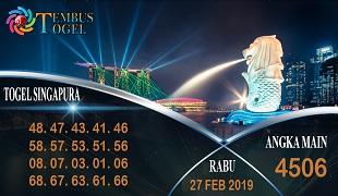 Prediksi Angka Togel Singapura Rabu 27 Februari 2019