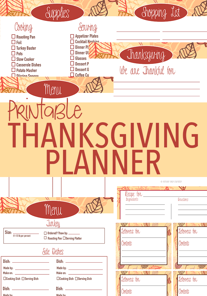 Printable Thanksgiving Planner! Get organized for the perfect family Thanksgiving - includes menu planner, checklists, shopping lists, recipe cards, leftover labels and more!