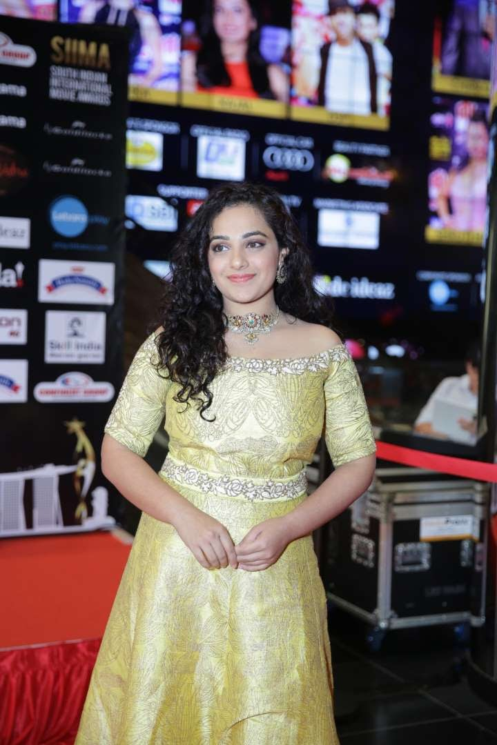 South Indian actress Nithya Menen arrives for SIIMA