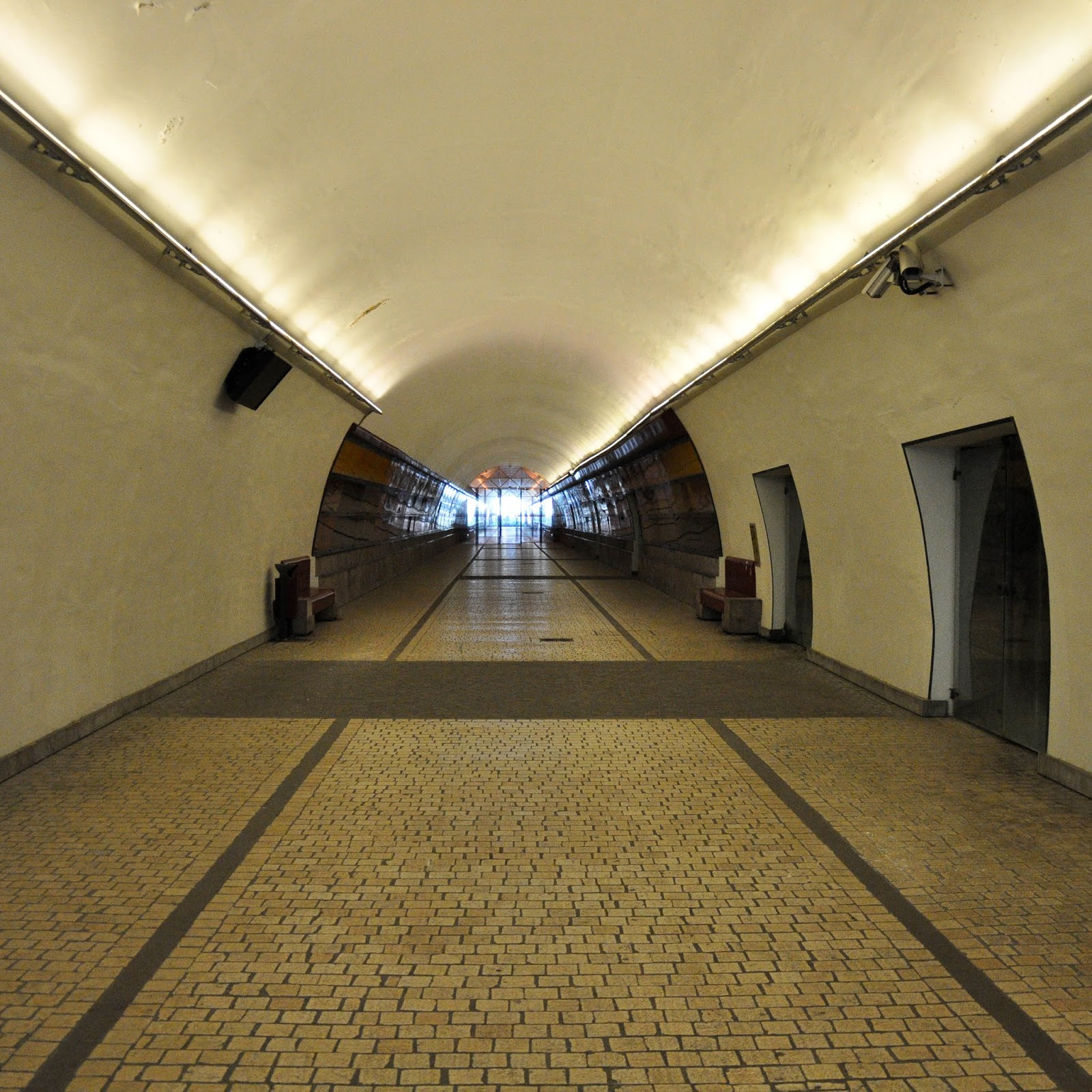 The tunnel running under the old city, Feltre, Veneto, Italy