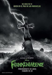Poster castellano de Frankenweenie, película dirigida por Tim Burton.