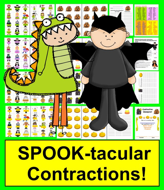https://www.teacherspayteachers.com/Product/Halloween-Literacy-Centers-Spook-tacular-Contractions-48-Pairs-387924