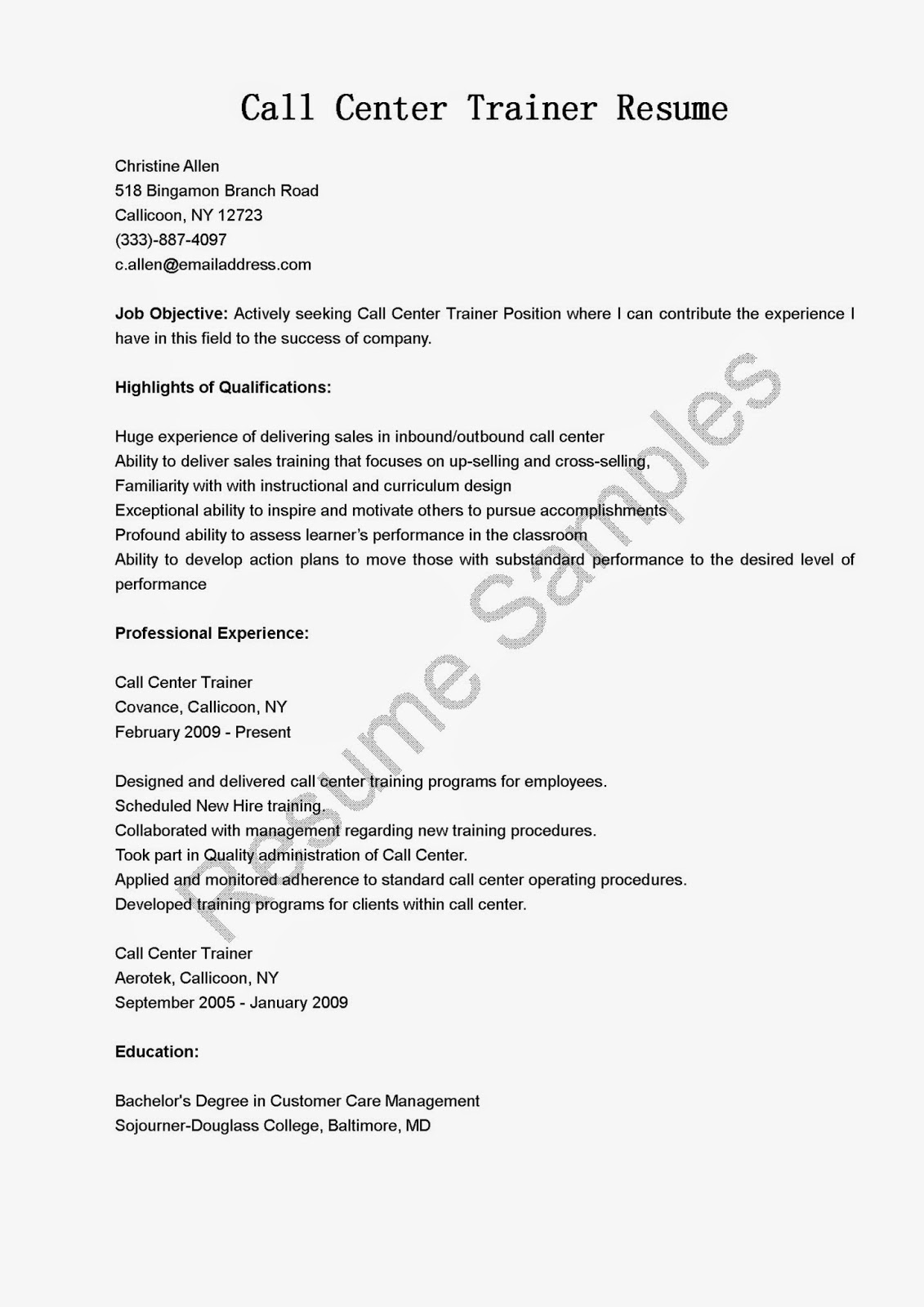 Call Center Objective For Resume Resume Samples Call Center Trainer Resume Sample
