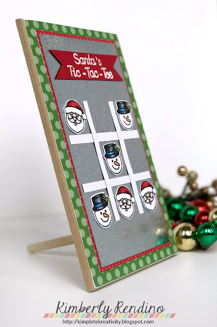 magnetic tic-tac-toe game | kimpletekreativity.blogspot.com | Sunny Studio Stamps | Christmas | holiday | santa | snowman | handmade | handmade gift | papercraft