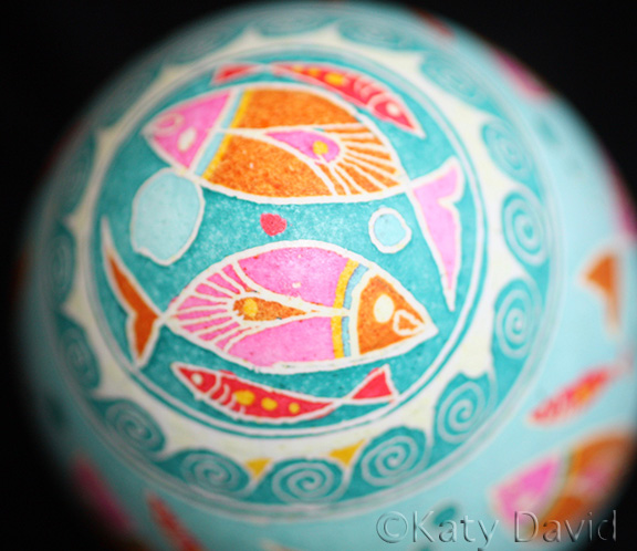 "©Katy David 2016 ""Fish Traffic"" Chicken egg traditional pysanka"